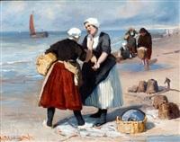 kibbelende vissersvrouwen op het strand by bernardus johannes blommers