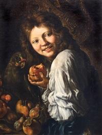 ragazzo che ride con frutta e pappagallo by guillaume courtois and abraham brueghel