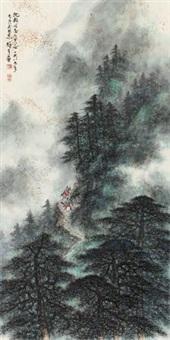 松岭行旅 镜片 设色纸本 by li xiongcai