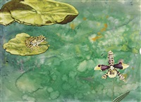 i was working on water color splatter paintings and one had a highly rendered frog on a lilly pad and a head on an orchid. it had a cut circular edge in 15 minutes i had to speak at a lecture hall with no idea what to say. by jim shaw