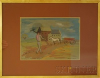 landscape with horse-drawn wagon and walking man with rake (sketch) by herman maril