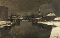 winters dorp aan de leie (mogelijk deinze) by albert saverys