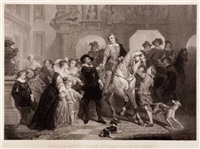 van dyck verlässt rubens, um sich nach italien zu begeben (after nicaise de keyser) by jean-baptiste-alfred cornilliet
