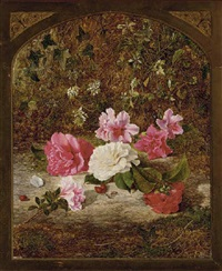 camelias and rhododendrons, on a mossy bank by charles archer