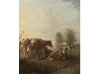 cattle in a landscape by edward robert smythe