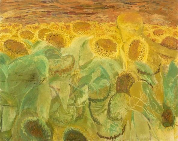 man in field of sunflowers by norman adams