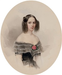 portrait of natalia nikolaevna pushkina, wife of the poet alexander pushkin by vladimir ivanovich hau