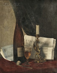 still life with newspaper, candle, pipe, and wine glass by clarence drew bartlett