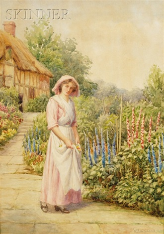 gathering flowers in the garden by william f ashburner