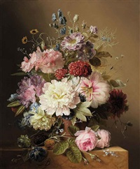 still life with peonies, rhodedendran, auricula, roses, and summer flowers, in an urn, on a marble ledge by arnoldus bloemers