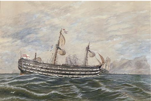 hms quotneptunequot towing quotvictoryquot into gibraltar after the battle of trafalgar by j turner