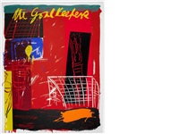 moving the goalposts i - iii (set of 3) (+ an overshrugged shoulder; 4 works) by bruce mclean