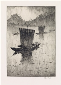 fishing boats in the rain by martin lewis