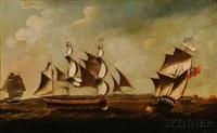 british ships off the coast by john askew