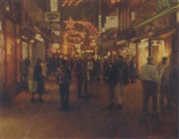 kalverstraat by night by frans koppelaar