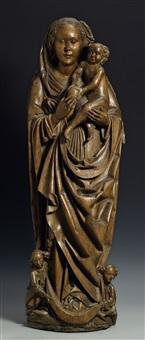 maria mit kind auf einer mondsichel stehend, getragen von zwei engeln by hans multscher