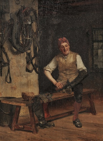 groom polishing riding boots by walter gay