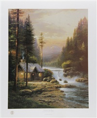 evening in the forest by thomas kinkade