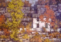 autumn landscape with buildings and trees by john foster