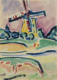 windmühle (eine windmühle auf fehmarn) (+ bildnis dr. bauer, radierung, 1921; 2 works by ernst ludwig kirchner