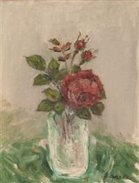 rose rouge, vase verre by pierre laprade