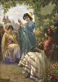 fiesta flamenca en una terraza de sevilla by manuel gonzalez santos