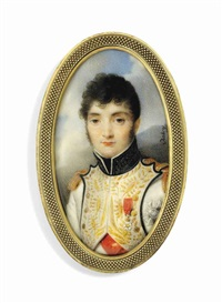 jérôme bonaparte (1784-1860), king of westphalia, in blue-piped white uniform of the westphalian infantry, with gold-embroidered facings, black collar embroidered in gold oak leaves by louis françois aubry