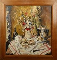 nature morte aux gauffres et bouquet de fleurs by joseph grégoire