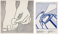 foot medication poster (+ spray can (from 1¢ life; 2 works)) by roy lichtenstein