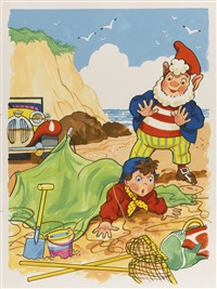 noddy at the seaside (29 works on 12 sheets) by edgar hodges
