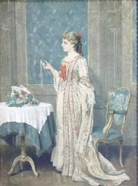 elégante recevant un bouquet by auguste serrure