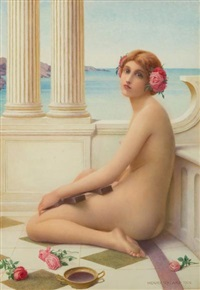 classical beauty with greek lyre on a marble balcony by henry ryland