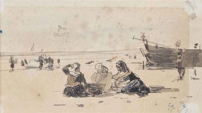 la plage de berck mare basse by eugène boudin