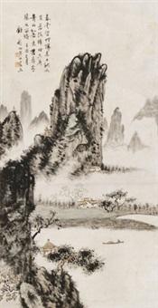 山水 立轴 设色纸本 by gu fei