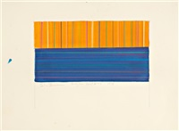 fold #9 section d'or (+ study for fold #27, 1999, colored pencil and acrylic on paper; 2 works) by linda besemer