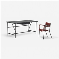 desk and chair (pair) by jacques adnet