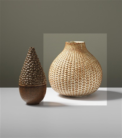 pale yellow corn textured bulbous vase by axel johann salto
