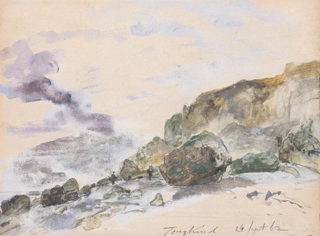 plage en haute-normandie, dans les environs d'etretat by johan barthold jongkind