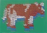 die milk-brothers melken die kuh. aus lasso schwingenden cowboys zusammengesetzte figur by thomas bayrle