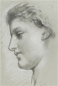 study of a female head, mrs. earle by lord frederick leighton
