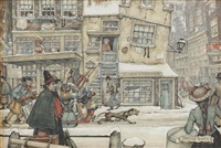 a bustling street in winter by anton pieck