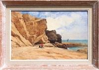 couple au pied des falaises by gustave eugène castan