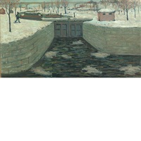 the lock, new hope, pennsylvania by ernest lawson