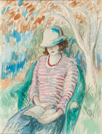 reading in the garden by frederick carl frieseke