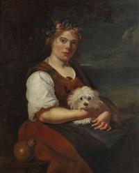 jeune dame posant comme diane avec bichon maltais by anonymous-british (18)