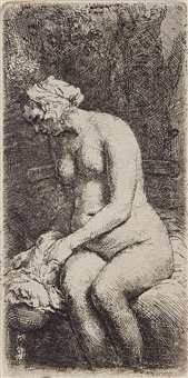 woman bathing her feet at a brook by rembrandt van rijn