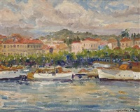 harbour scene, france by maurice paul