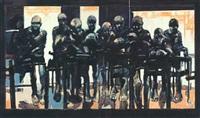 komposisjon med mennesker i en bar (diptych) by benjamin bergmann