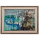 abstract harbor scene by guy maccoy