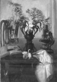 table top still life with flowers, microscope, and book by blanche ames